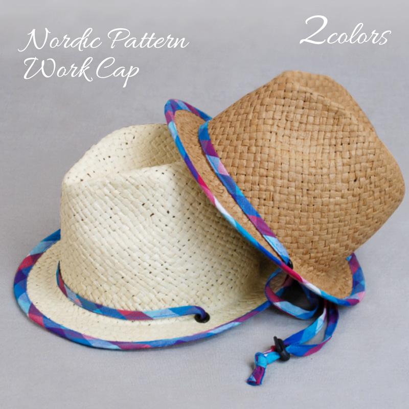 帽子 キッズ 春夏帽子 子ども帽子 あご紐 セール価格 ストラップ W チェックパイピングペーパーハット帽子 CT01 公式通販 紐付き G- 中折れ