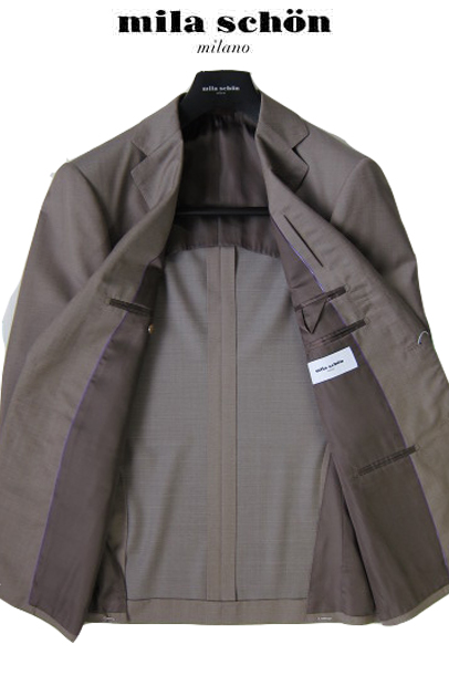 ミラショーン メンズスーツ ベージュ ウール シルク 無地 ゼニア素材使用 春夏物 44R A446R A548R A650R A7lJK1Fc