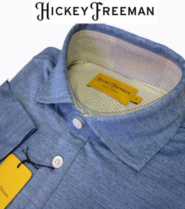 半袖 ポロシャツ ワイドスプレット カットソー ブルー HICKEY FREEMAN ヒッキーフリーマン