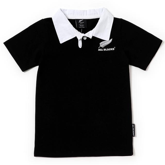 ニュージーランド代表 オールブラックス公式 キッズジャージ オフィシャル ライセンス商品 オールブラックス ラグビージャージ 子供 キッズ 黒 140 120 ハカ 90 襟付き 2020 新作 公式ライセンス商品ラガーシャツ 豊富な品 半袖ニュージーランド