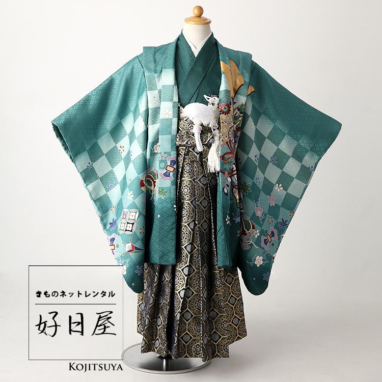 七五三 袴 男の子 着物 レンタル 5歳 袴レンタル フルセット 子供 羽織 子供 お宮参り 5-011