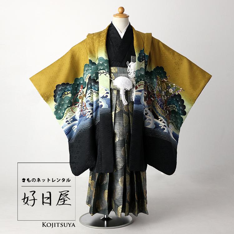 七五三 袴 男の子 着物 レンタル 5歳 袴レンタル フルセット 子供 羽織 子供 お宮参り 5-012