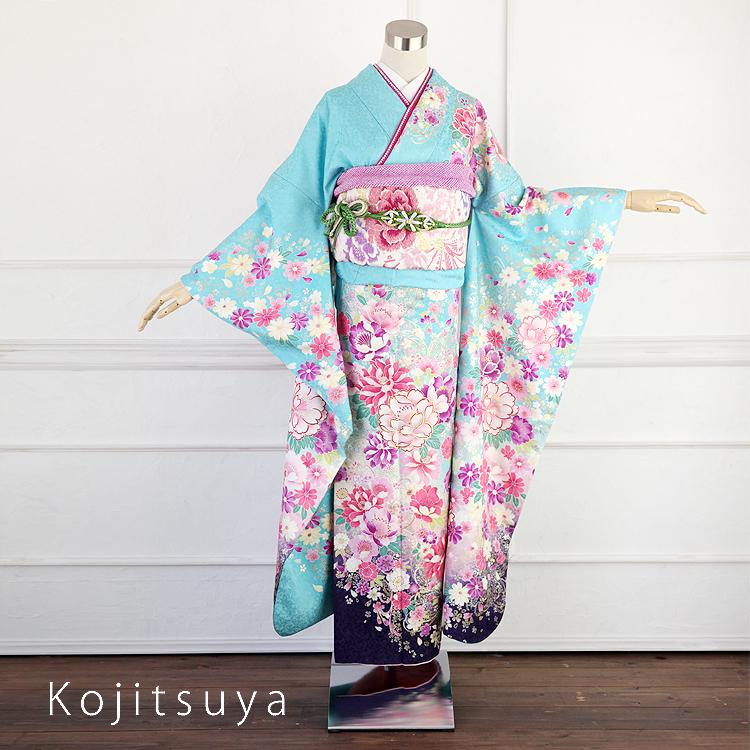 振袖 レンタル フルセット 正絹 着物 【レンタル】 結婚式 成人式 身長155-170cm 青 bl-014