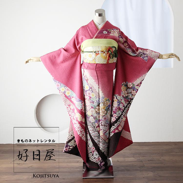 振袖 レンタル フルセット 正絹 着物 結婚式 成人式 身長157-172cm ピンク pi-016-s