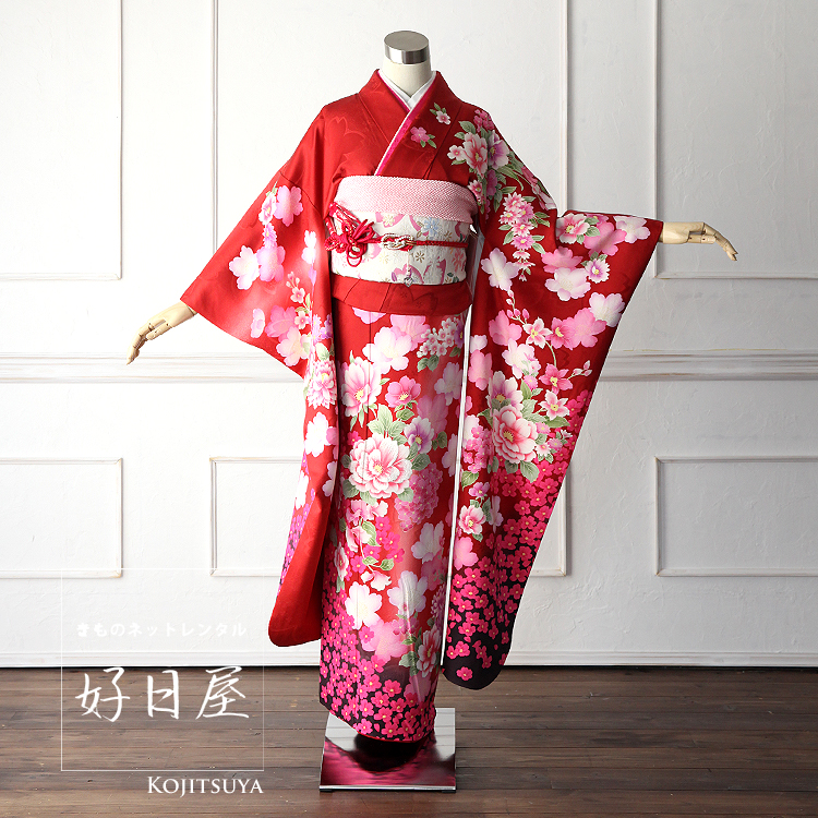 振袖 レンタル フルセット 正絹 着物 結婚式 成人式 身長149-164cm 赤 re-001-s