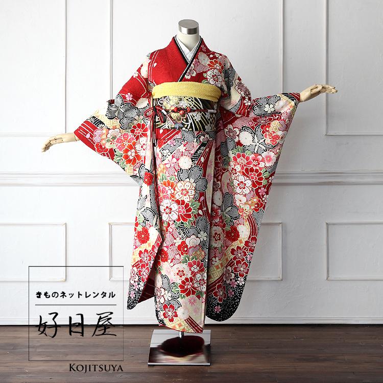 振袖 レンタル フルセット 正絹 着物 結婚式 成人式 身長161-176cm 赤 re-002