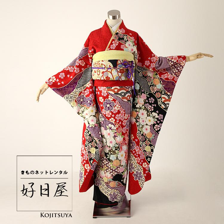 振袖 レンタル フルセット 正絹 着物 結婚式 成人式 身長159-174cm 赤 re-009