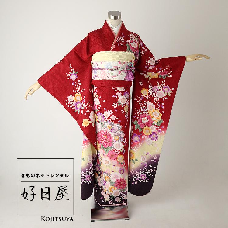 振袖 レンタル フルセット 正絹 着物 【レンタル】 結婚式 成人式 身長151-166cm 赤 re-010
