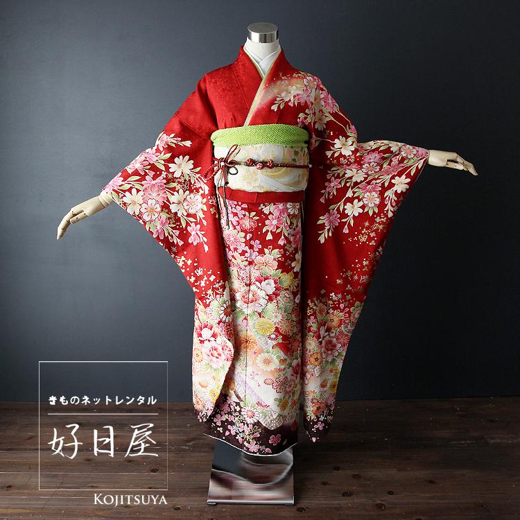 振袖 レンタル フルセット 正絹 着物 【レンタル】 結婚式 成人式 身長145-160cm 赤 re-011