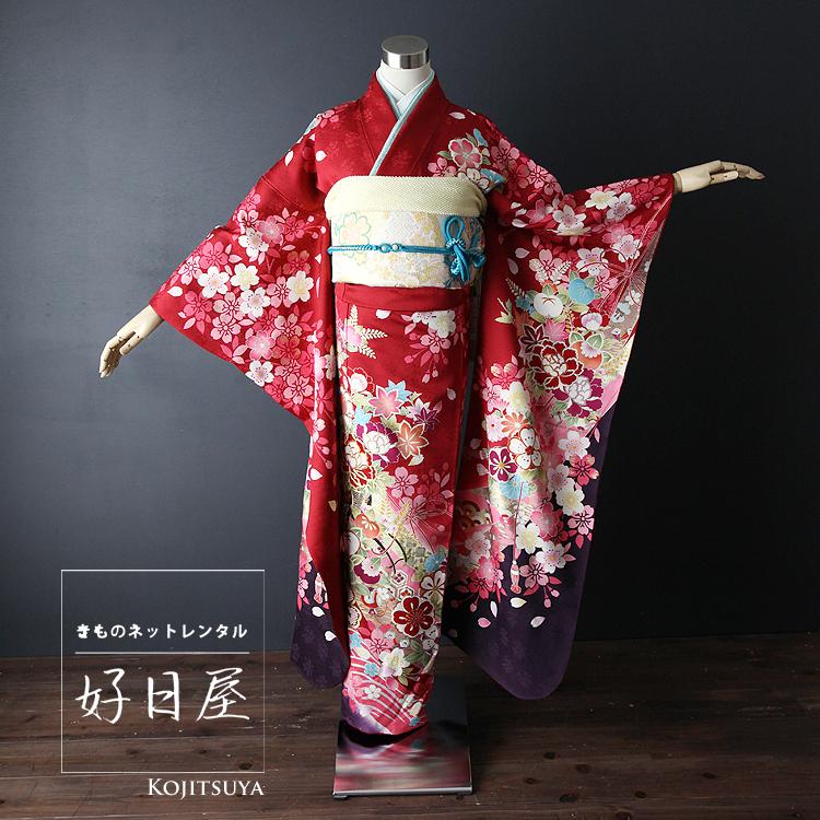 振袖 レンタル フルセット 正絹 着物 【レンタル】 結婚式 成人式 身長161-176cm 赤 re-012