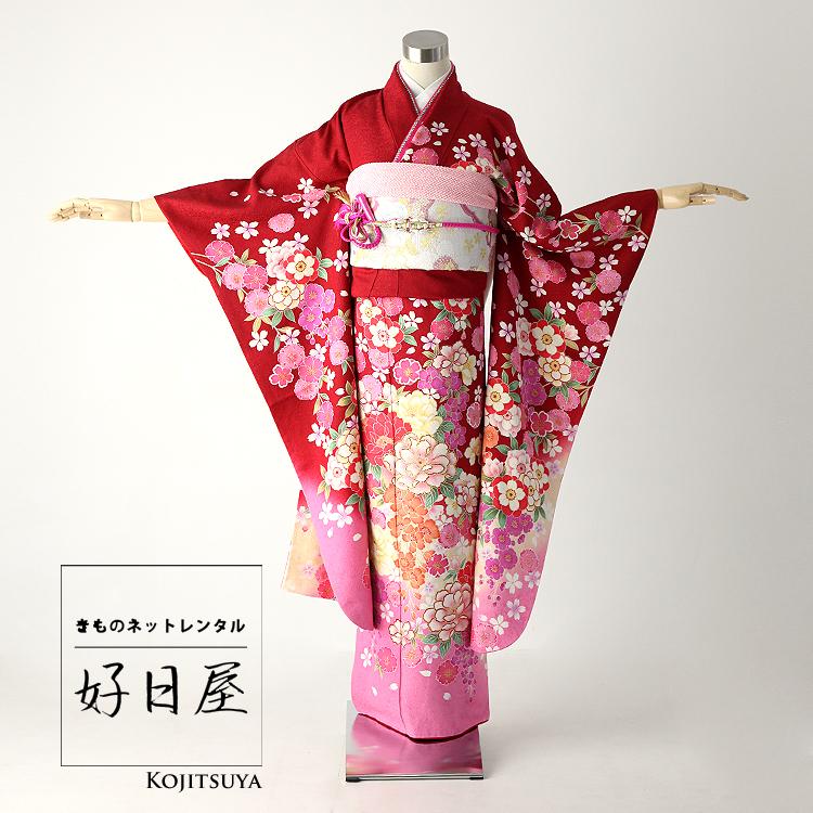 振袖 レンタル フルセット 正絹 着物 【レンタル】 結婚式 成人式 身長145-160cm 赤 re-013-s