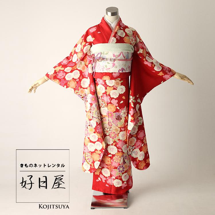 振袖 レンタル フルセット 正絹 着物 【レンタル】 結婚式 成人式 身長144-159cm 赤 re-026
