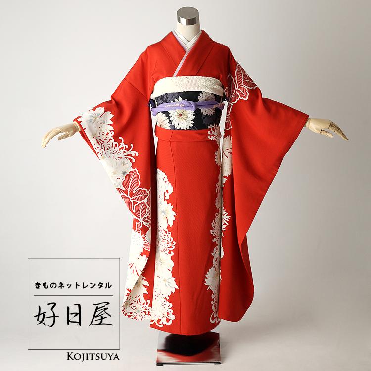 振袖 レンタル フルセット 正絹 着物 【レンタル】 結婚式 成人式 身長158-173cm 赤 re-043-s
