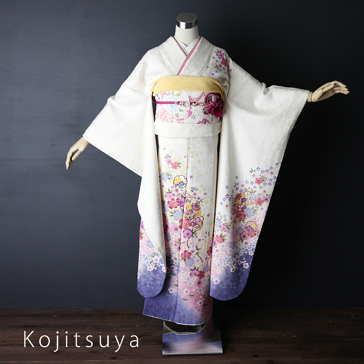振袖 レンタル フルセット 正絹 着物 【レンタル】 結婚式 成人式 身長148-163cm 白 wh-029