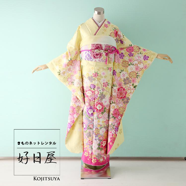振袖 レンタル フルセット 正絹 着物 【レンタル】 結婚式 成人式 身長151-166cm 黄 ye-007