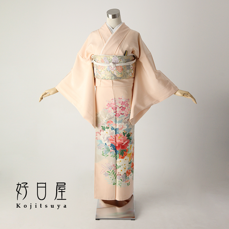色留袖 レンタル フルセット 正絹 着物 結婚式 身長151-166cm 三つ紋 it-023
