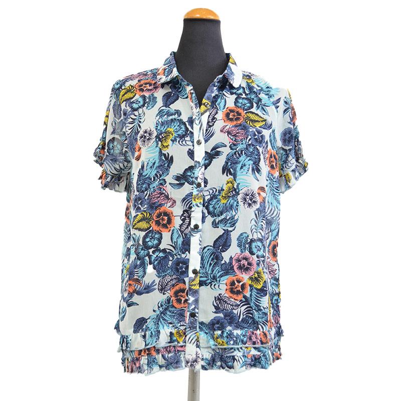 輸入 通販 激安 さらりと着やすい 花柄ブラウス Anjuna ネイビー 半袖 ゆったり トップス M XXLサイズ インド製 ポリエステル アジアン レディース XL 安い