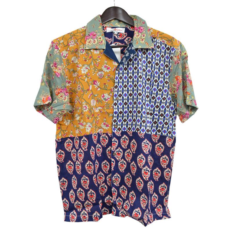 先行販売 激安 インド製 パッチワークシャツ ゆうパケット可 Anjuna レーヨン100% ビスコース レーヨン生地 パッチワーク シャツ Mサイズ 男女兼用 花柄 pws021 ネイビー ひんやり 安い 有名な ついに入荷 夏 サマーウェア ハワイアン 背面 リゾート アロハシャツ 柄物 放熱性のあるレーヨン素材 なめらか
