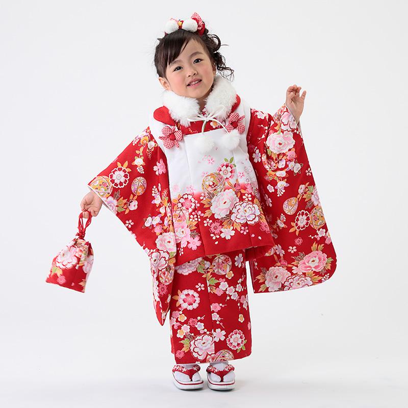 七五三 着物 3歳 被布着物9点フルセット(ファーショール付)赤地に牡丹と鞠(被布:白地にピンクぼかし)