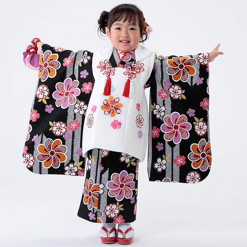 【七五三早割★ポイント10倍】 七五三 着物 3歳 被布 着物7点 フルセット 黒地に矢絣と桜(被布ちりめん白)