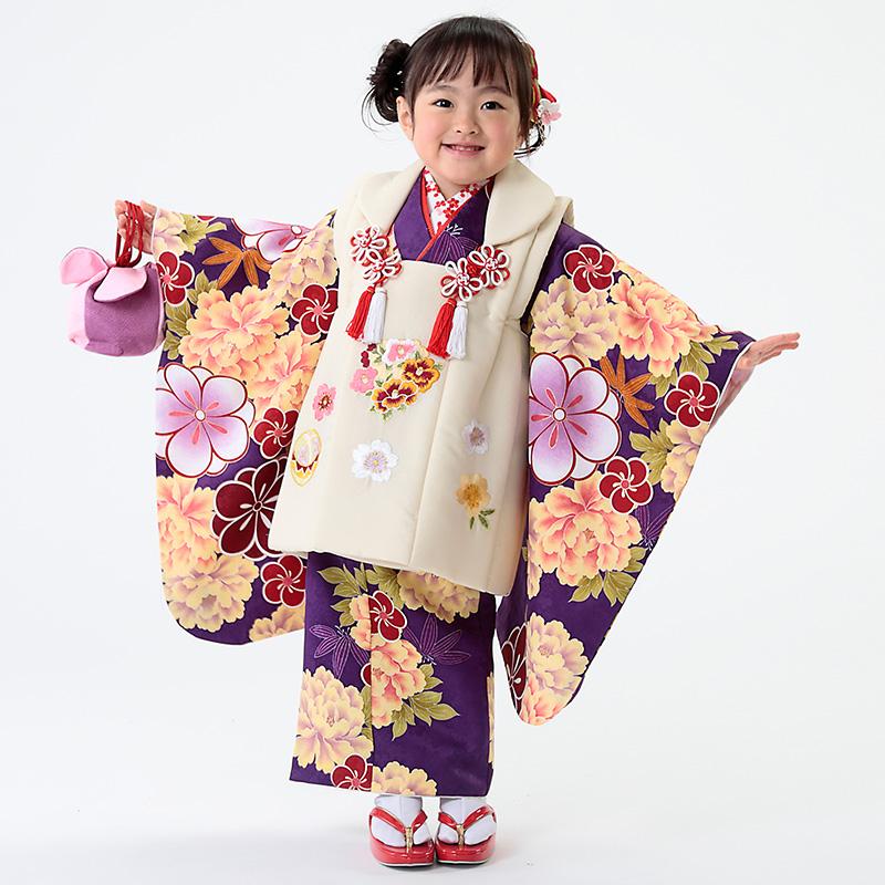 【七五三早割★ポイント10倍】 七五三 着物 3歳 被布 着物7点 フルセット 紫地に牡丹と桜(被布ちりめん生成)