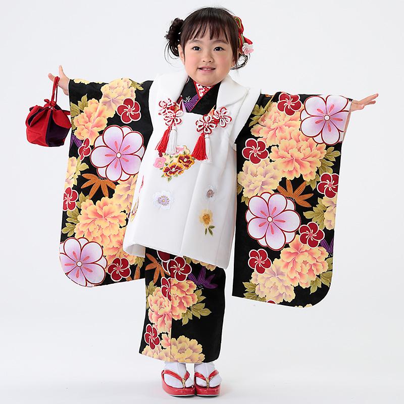 【七五三早割★ポイント10倍】 七五三 着物 3歳 被布 着物7点 フルセット 黒地に牡丹と桜(被布ちりめん白)