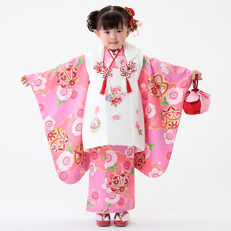 【七五三早割★ポイント10倍】 七五三 着物 3歳 被布 着物7点 フルセット ピンク地に鞠と桜(被布ちりめん白)