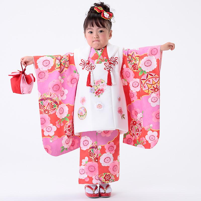 【七五三早割★ポイント10倍】 七五三 着物 3歳 被布 着物7点 フルセット 赤地に鞠と桜(被布ちりめん白)