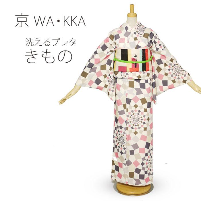 京 wa・kka ブランド 高級 洗える プレタ 着物 小紋 ハイクラス お洒落着 ドット ベージュ ピンク 黒
