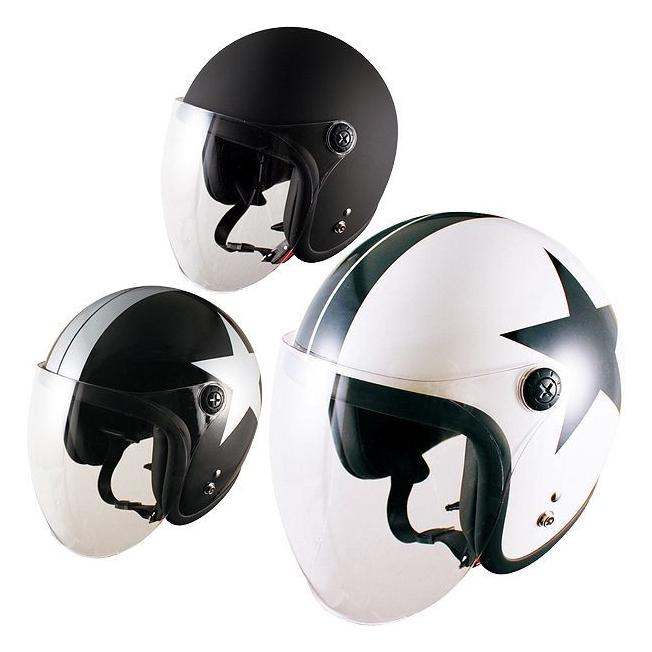【パールホワイトスター 】 ヘルメット バイク ジェットヘルメット バイカーズ SR スモールジェットヘルメット デザインカラー JL-65SR