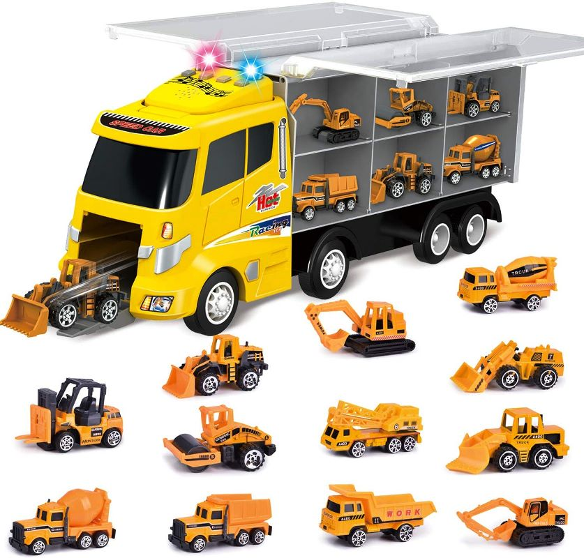 【保証書付】 FUN LITTLE TOYSカーキャリア12 in 1建設トラック(約41cm)12台の重機(約7.6cm)掘削機、ブルドーザー 音と光の効果、ミキサー エンジンのサウンド クリスマス、ロードローラー、ダンプトラックなどを含む エンジンのサウンド 音と光の効果 コンパクト収納 トランスポート 誕生日 教育 クリスマス, 暮らしと健康くらぶ:8d26b70c --- independentescortsdelhi.in
