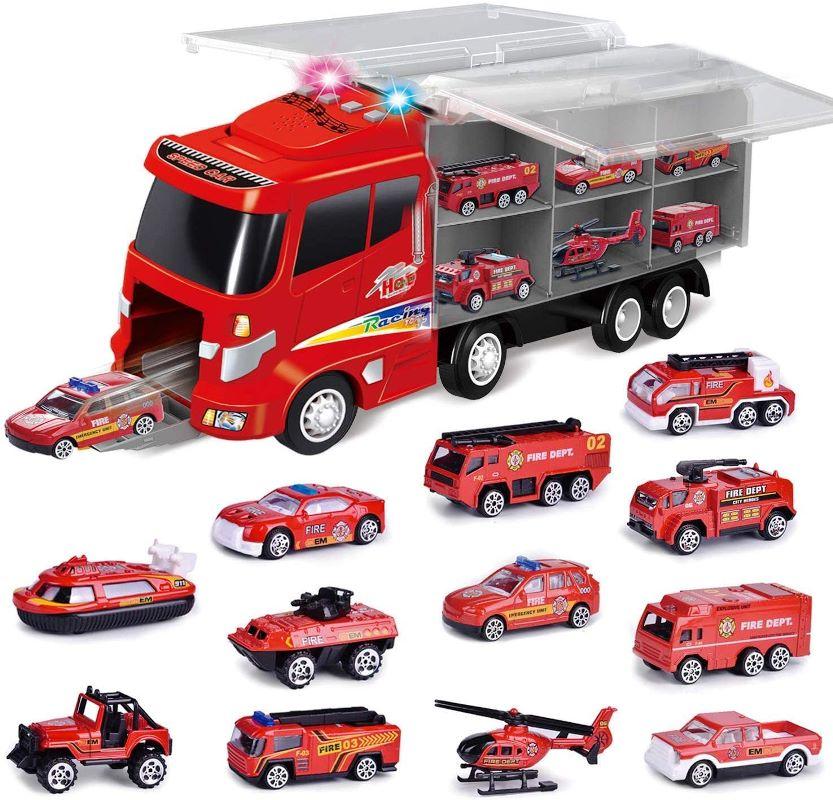 流行に  FUN LITTLE LITTLE TOYSカーキャリア12 in FUN 1消防車(約40cm)12台の消防車両(約7.6cm)消防車 教育、スピードボート、リフト消防車、救助ヘリコプター、消防車などを含む エンジンのサウンド 音と光の効果 コンパクト収納 トランスポート 誕生日 教育 クリスマス, 金沢市:b25e0349 --- independentescortsdelhi.in