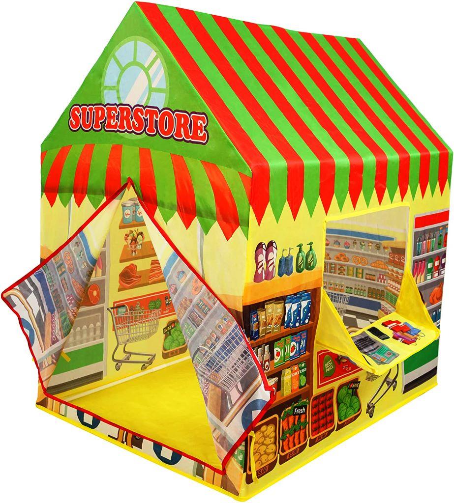 キッズテント スーパーマーケット プリンセスキャッスル 屋内 新作販売 屋外プレイハウス 高い素材 日用品 雑貨 窓 食品 カーテン お店屋さんごっこ Play インドアアウトドアKiddie