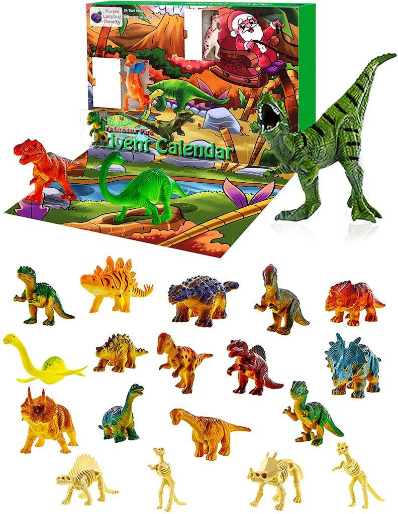 アドベントカレンダー(恐竜)24種類の恐竜フィギュア♪ トリケラトプス、ブラキオサウルス、アンキロサウルス、ティラノサウルスレックス、ステゴサウルスなど イベントカレンダー 人形 ごっこ遊び 誕生日 クリスマス Purple Ladybug Novelty