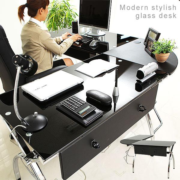 パソコンデスク l字型 ガラス l字 机 デスク l字デスク l型デスク ワークデスク PCデスク オフィスデスク 一人暮らし