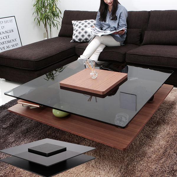 ローテーブル テーブル ガラス センターテーブル ウォルナット オーク リビングテーブル 正方形 ウォールナット 高級感 100cm リビング ガラス天板 一人暮らし
