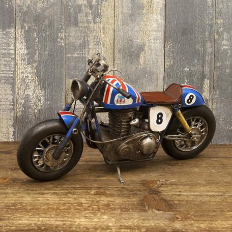 Lavieen vintage brikibaike racing bike uk union jack miniature garage collection figure - American motorbike garage ...