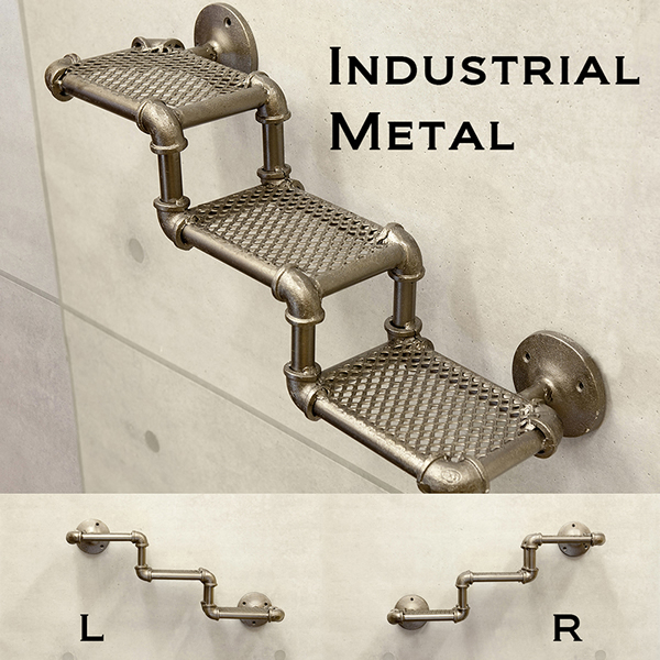 Gas Metal 3 Stage Pipe 321 Shelf Hook Key To Hang Resin Wall Shelves Rack Decorative Display Storage Iron Antique