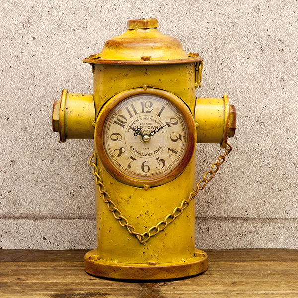 Fire Hydrant / Yellow Table Clock Vintage Clock Antique Clock / United  States Clock / Fashion Clock Art Object Vintage Garage American  Miscellaneous Goods ...