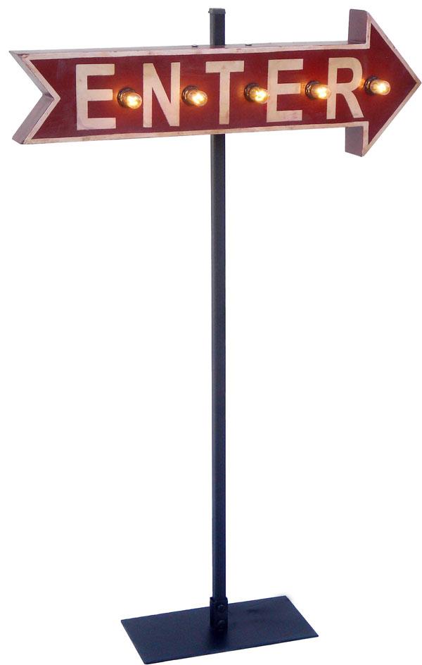 アメリカンサイン「アローサインウィズライト」ENTER(入り口) 【案内用標識、看板、矢印、ライト付き、】 アメリカ雑貨 看板 西海岸風 インテリア アメリカン雑貨