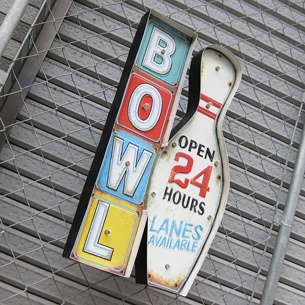 领导美国金属标牌 (光捕获物) 锡碗 (保龄球) LED 墙灯标志 / 板材美国商品美国小玩意招牌