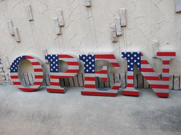 アメリカンダイナーサイン アメリカンサイン(USAフラッグ)看板 OPEN バー カフェバー ガレージ 映画 セット ハリウッド ラスベガス アメリカ雑貨 アメリカ看板 西海岸風 インテリア アメリカン雑貨