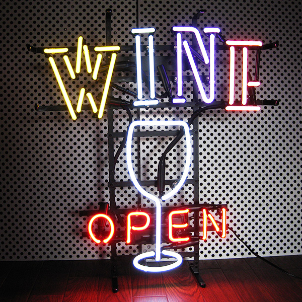 ネオンサイン(WINE OPEN ワイン オープン)ホッドロッド ネオン看板 ネオン管・照明 ガレージ ビンテージ アメリカ雑貨 ネオン 西海岸風 インテリア アメリカン雑貨