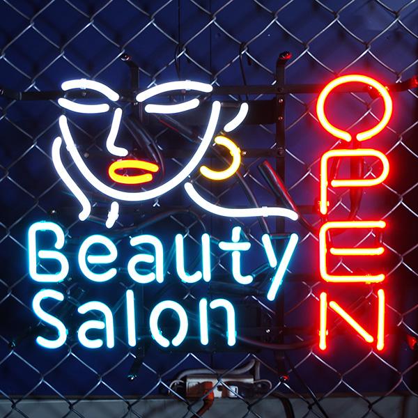 アメリカン ネオンサイン オープン  美容室(Beauty Salon OPEN)H420×W530mm ネオン看板 ネオン管 西海岸風 インテリア アメリカン雑貨