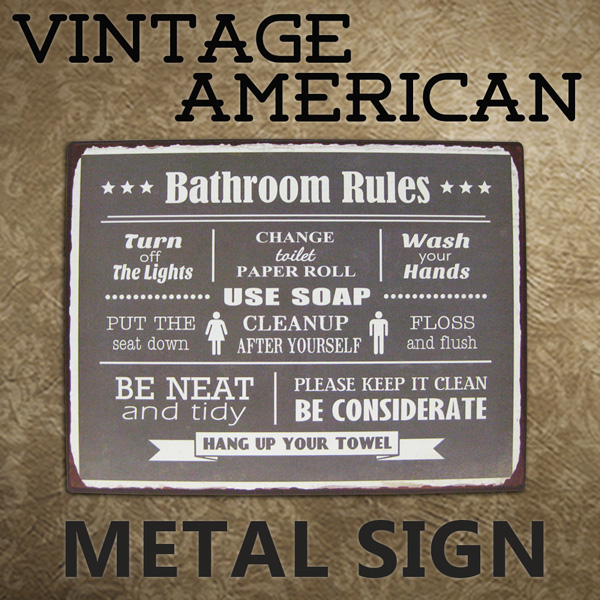 American Tin Sign Bathroom