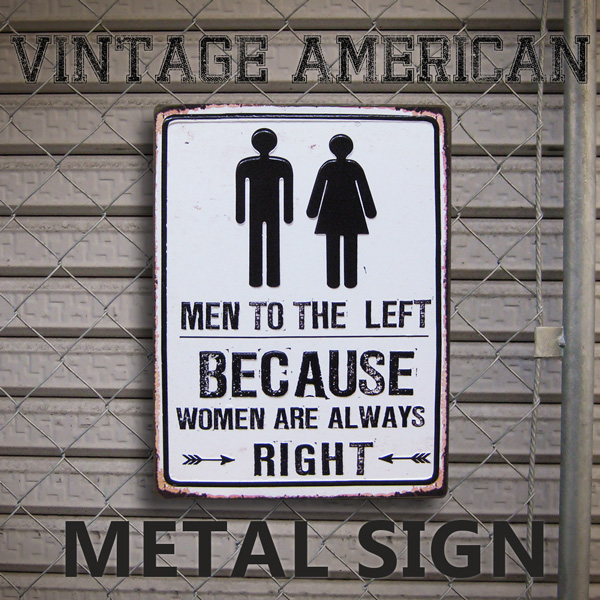 American Tin Signs BECAUSE WC CA TW34 Toilet Restroom Emboss Tilin Metal Sign Garage Drink Gadgets