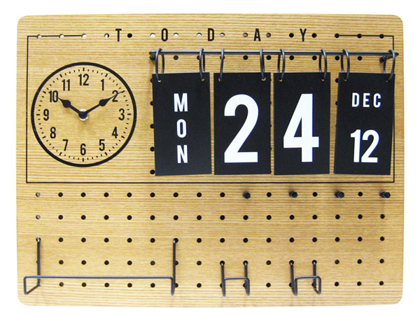Lidgate [ リドゲート ] 壁掛け時計  カレンダー付き ペグボード 有孔ボード 西海岸風 インテリア アメリカン雑貨