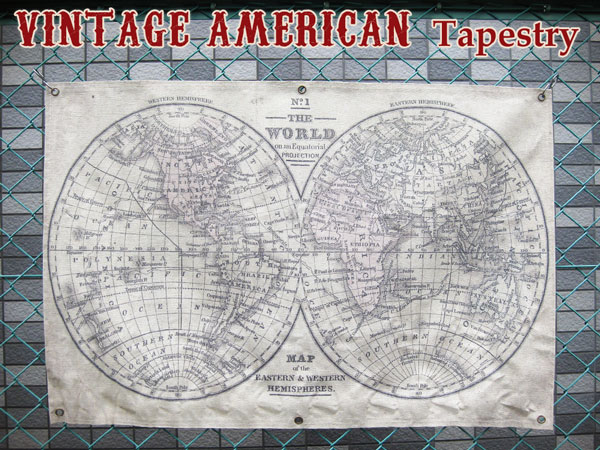 Interior wall / 90 cm (KS / world map / world maps) wall decoration vintage  tapestry fashionable wall antique vintage garage American goods American