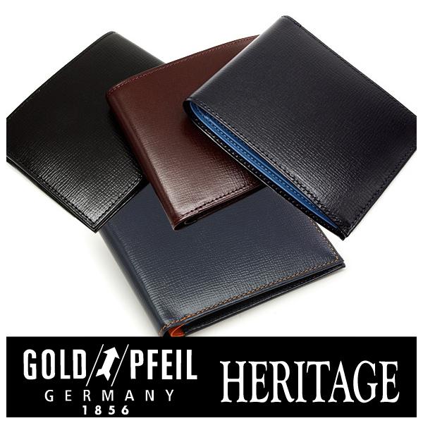 プレリー財布 GOLD PFEIL 「ゴールドファイル」 HERITAGE レザー 型押し 二つ折り財布(小銭入なし) 牛革 本革 ウォレット【楽ギフ_包装選択】