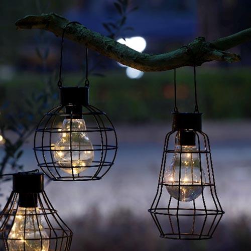 暗くなるとぼんやり点灯、心安らぐソーラーランタン ランタンソーラーライト【エクステリア】【庭園灯】【防水】【電源不要】【LED】【屋外使用可能】